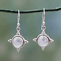 Rainbow moonstone dangle earrings, 'Endless Moonlight' - Artisan jewellery Sterling Silver Rainbow Moonstone Earrings