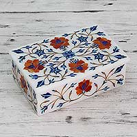 Marble inlay jewelry box, 'Marigolds'