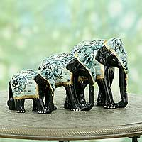 Lacquered wood sculptures, 'Blue Elephant Trio' (set of 3) - Indian Artisan Crafted Wood Elephant Sculptures (Set of 3)