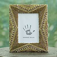 Beaded photo frame, 'Golden Glitz' (5x7) - Beaded Photo Frame in Gold and Bronze Colors (5x7)