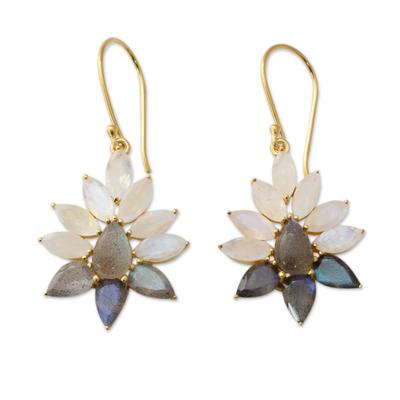 Gold vermeil rainbow moonstone and labradorite dangle earrings, 'Dawn Aura' - Rainbow Moonstone and Labradorite Gold Vermeil Earrings