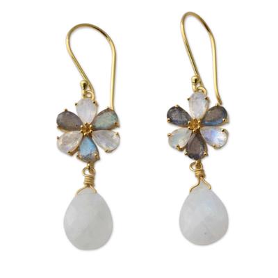 Gold vermeil rainbow moonstone and labradorite dangle earrings, 'Jaipur Allure' - Rainbow Moonstone Artisan Gold Vermeil Labradorite Earrings