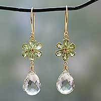 Gold vermeil peridot and prasiolite dangle earrings, 'Jaipur Allure' - Gold Vermeil Floral Prasiolite and Peridot Earrings