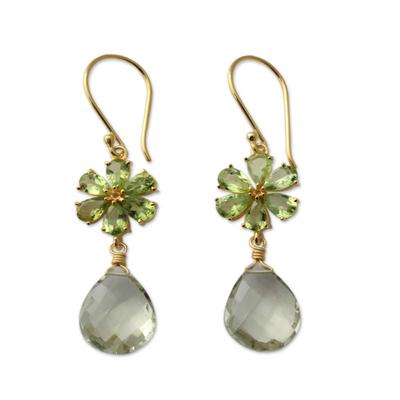 Gold Vermeil Fl Prasiolite And Peridot Earrings Jaipur Allure