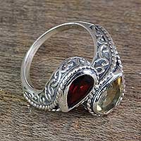 Citrine and garnet wrap ring, 'Undeniable Attraction' - Handcrafted Mughal Style Silver Ring with Citrine and Garnet