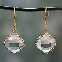 Gold vermeil prasiolite dangle earrings, 'Eternal Romance' - Gold Vermeil Faceted Prasiolite Hand Made Earrings