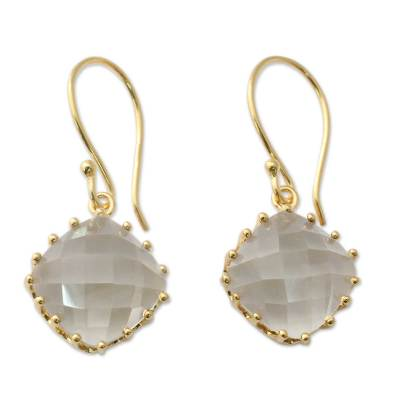 Gold Vermeil Faceted Prasiolite Hand Made Earrings