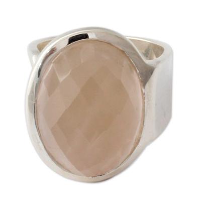 Rose quartz wrap ring, 'Jaipur Opulence' - Statement jewellery Artisan Crafted Rose Quartz Wrap Ring