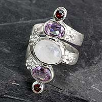 Multi-gemstone cocktail ring, 'Spiral Enchantment'