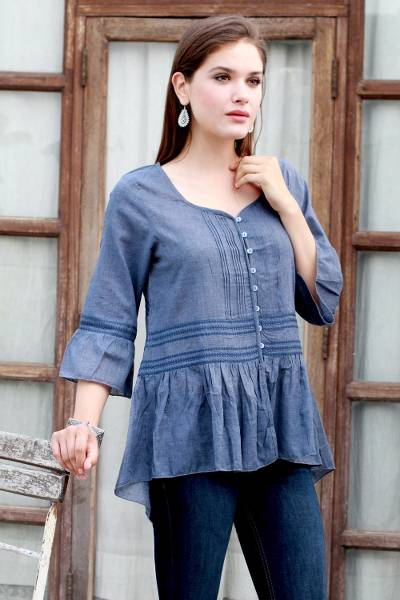 Cotton blend tunic, 'Cadet Blue Charm' - Embroidered Polyester and Cotton Blend Tunic in Cadet Blue