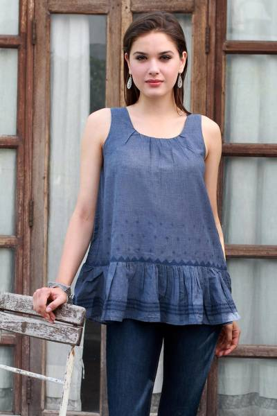 Cotton blend sleeveless blouse, 'Cadet Blue Charm' - Patterned Cotton Blend Blouse in Cadet Blue from India
