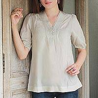 Cotton blend tunic, 'Graceful Elegance' - Khaki Color V-neck Tunic in Cotton Viscose Blend from India