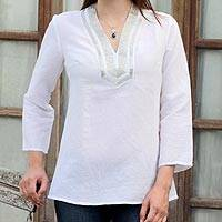 Linen tunic, 'Shining Corona' - Long Sleeve Cotton Glass Beaded Tunic Snow White from India