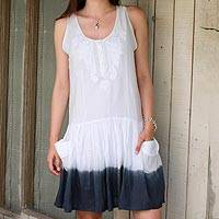 Cotton sundress, 'Smoky Horizon' - Snow White and Graphite Cotton Embroidered Dress from India