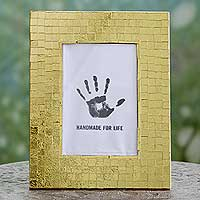 Mosaic photo frame, 'Golden Mosaic' (4x6) - Indian Hand Crafted Gold Glass Mosaic Photo Frame (photo ope