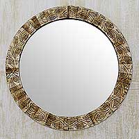 Wall mirror, 'Earth Ivy' - Handmade Bone Mosaic Circular Wall Mirror and Frame