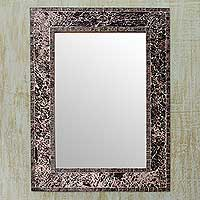 Glass mosaic wall mirror, 'Twilight' - Handcrafted Glass Mosaic Wall Mirror from India