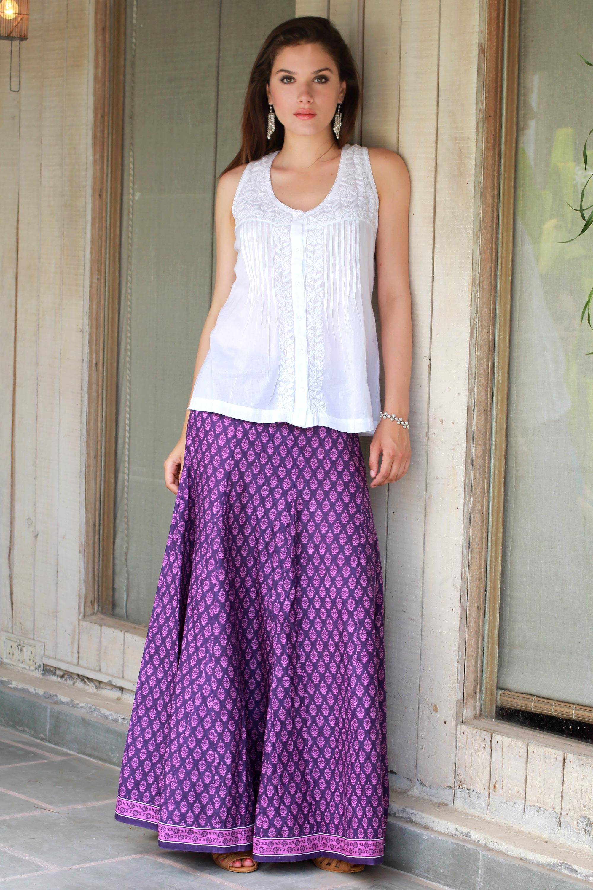 bc6080100e Women's Purple and Lilac Floral Print Long Skirt from India,