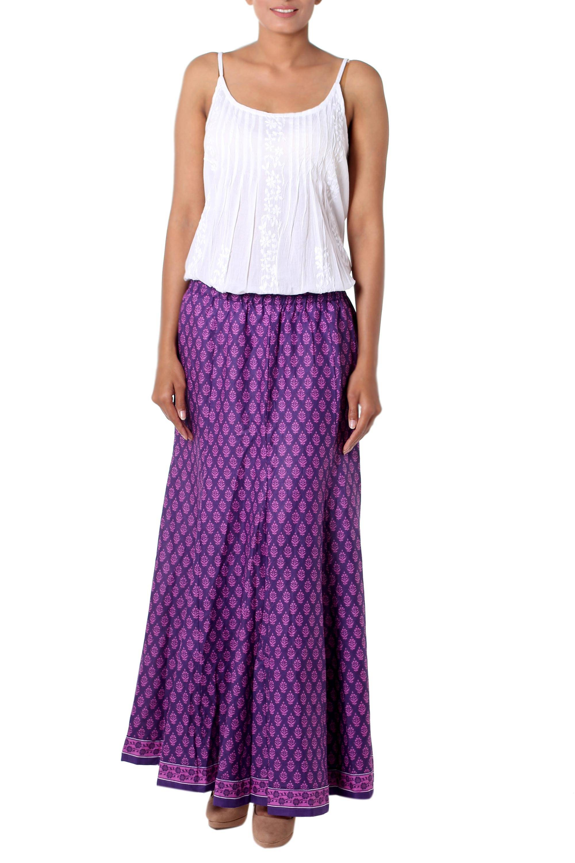 a795e6c515 Unicef UK Market | Women's Purple and Lilac Floral Print Long Skirt ...