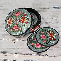 Papier mache coasters, 'Kashmir Floral' (set of 6) - Artisan Crafted Papier Mache Coasters with Holder (Set of 6)