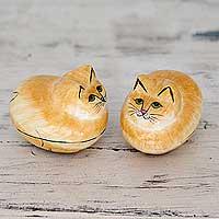 Papier mache boxes, 'Charismatic Cats' (pair) - Artisan Crafted Decorative Papier Mache Cat Boxes