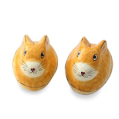 Papier mache boxes, 'Charismatic Rabbits' (pair) - Artisan Crafted Papier Mache Decorative Bunny Boxes (Pair)