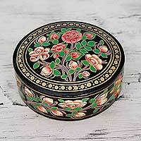 Papier mache box, 'Rose Grandeur' - Flowers on Papier Mache Decorative Box from India