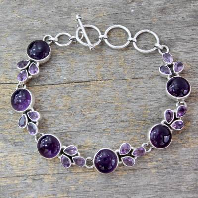 Amethyst link bracelet, 'Glorious Purple' - Artisan Crafted Silver Link Bracelet with Amethysts
