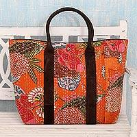Cotton and leather accent shoulder bag, 'Rajasthan Flare' - Orange Cotton and Leather Accent Floral Theme Shoulder Bag