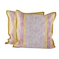 Cotton cushion covers, 'Ancient Maze' (pair) - Red and Yellow Block Print Cotton Cushion Cover Pair
