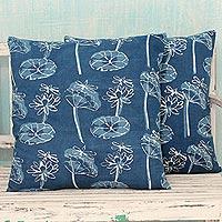 Cotton cushion covers, 'Dragonfly Garden' (pair) - Indian Dark Blue Cotton Floral Print Cushion Covers (Pair)