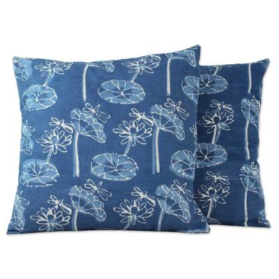 Cotton cushion covers, 'Dragonfly Garden' (pair) - Indian Dark Blue Cotton Floral Print Cushion Covers (Pair)