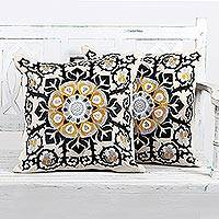 Cotton cushion covers, 'Jaipur Blossom' (pair)
