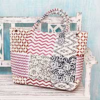 Cotton shoulder bag, 'Blocks of Tradition' - Multi Color Indian Block Print on Cotton Shoulder Bag