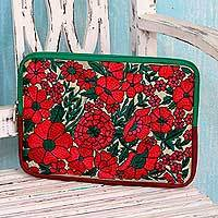 Embroidered tablet sleeve, 'Blossoming Red' - Red Flower Embroidery on Padded and Lined Tablet Sleeve Case