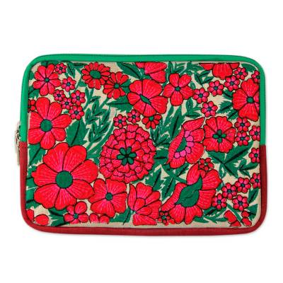 Red Flower Embroidery on Padded and Lined Tablet Sleeve Case