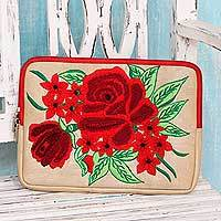 Embroidered tablet sleeve, 'Red Rose Romance' - Embroidered Tablet Sleeve Padded Lined Case with Rose Theme