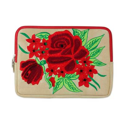 Embroidered Tablet Sleeve Padded Lined Case with Rose Theme