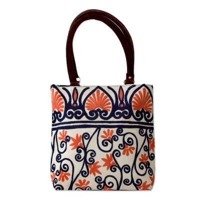 Novica Leather accent cotton tote handbag, Peach Blossom
