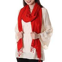 Wool and silk shawl, 'Scarlet Attraction' - Wool and Silk Blend Red Wrap Shawl from India