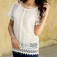 Cotton Blouse, 'Ecru Jali Inspiration' - Sheer Ecru Lace Cotton Crochet Blouse from India