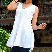 Cotton tunic, 'Flirty White' - Artisan Crafted 100% Cotton White Tunic with Floral Motif