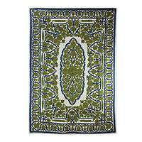 Wool chain stitch rug, 'Hallowed Forest' (4x6) - India Green Chain Stitch Wool on Cotton Rug (4 x 6)