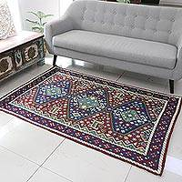 Wool chain stitch rug, 'Valley of Peace' (4x6) - Chain Stitch Rug  of Wool on Cotton (4 x 6)