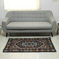 Wool chain stitch rug, 'Blue Mughal Palace' (3x5) - Blue and Burgundy Handcrafted Chain Stitch Wool Rug (3 x 5)