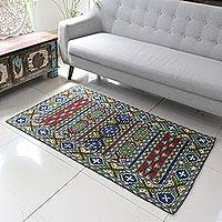 Wool chain stitch rug, 'Kashmiri Emeralds' (3x5) - Green and Burgundy Kashmiri Chain Stitch Wool Rug (3x5)