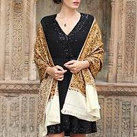 Wool shawl, 'Golden Chrysanthemums' - Chain Stitch Embroidered Brown and Yellow Floral Shawl