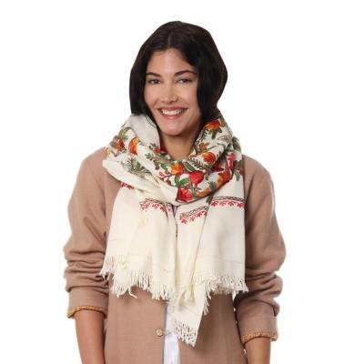 Wool shawl, 'Amber Magic' - Artisan Made Off White Shawl with Flowers from India