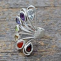 Multi-gemstone chakra ring, 'Harmonious Wisdom' - Multi-gemstone .925 Silver Ring Chakra jewellery from India