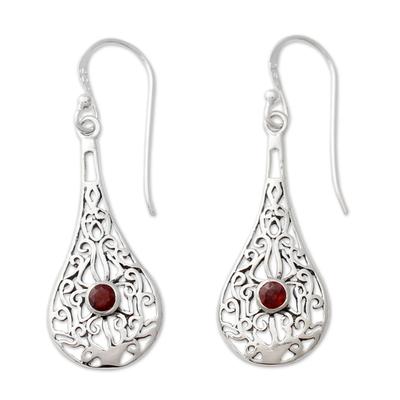 Sterling Silver Openwork Earrings with Garnets